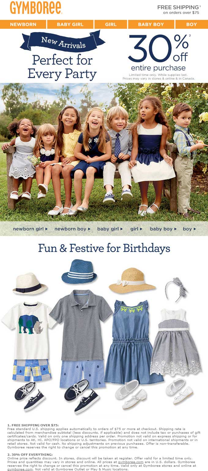 Gymboree Coupon February 2017 30% off everything at Gymboree, ditto online