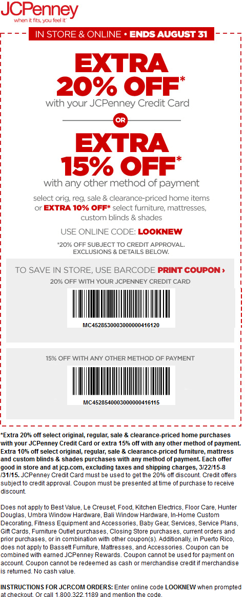 JCPenney Coupon June 2017 Extra 15% off all summer at JCPenney, or online via promo code LOOKNEW