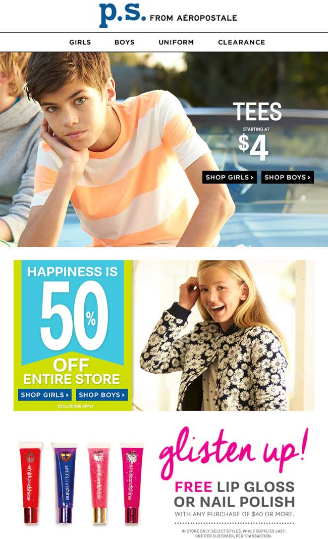 P.S. from Aeropostale Coupon July 2018 50% off everything at P.S. from Aeropostale, ditto online