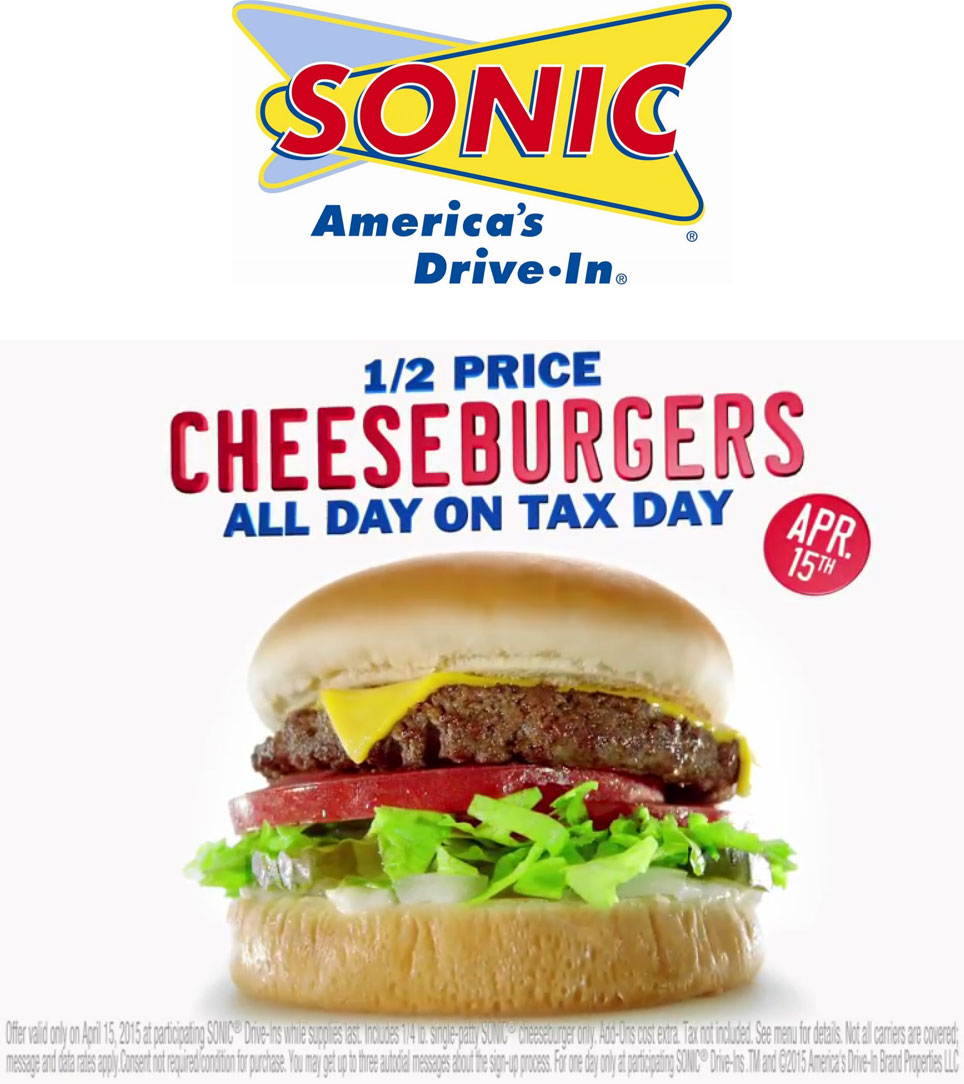 Sonic Drive-In Coupon March 2018 50% off cheeseburgers Wednesday at Sonic Drive-In