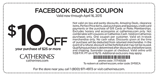 Catherines Coupon January 2018 $10 off $25 at Catherines, or online via promo code SM10CA