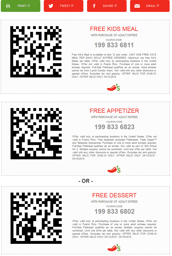 Chilis Coupon March 2017 Free kids meal Sunday, appetizer or dessert Mon-Thur at Chilis