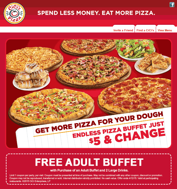 CiCis Pizza Coupon March 2017 Second buffet free today at CiCis Pizza