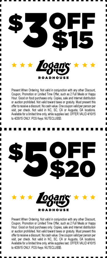 Logans Roadhouse Coupon May 2019 $3-$5 off $15+ at Logans Roadhouse restaurants