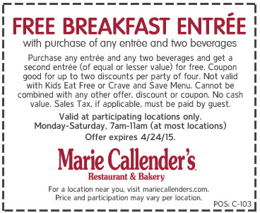 Marie Callenders Coupon December 2016 Second breakfast free at Marie Callenders restaurant & bakery