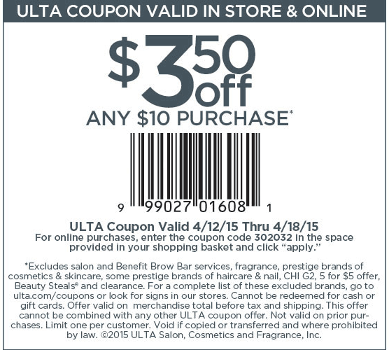 Ulta Coupon May 2017 $3 off $10 at Ulta Beauty, or online via promo code 302032
