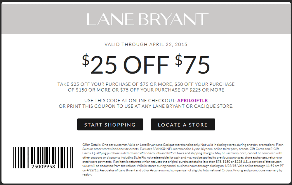 Lane Bryant Coupon June 2017 $25 off $75 at Lane Bryant, or online via promo code APRILGIFTLB
