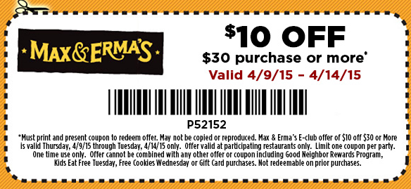Max & Ermas Coupon August 2018 $10 off $30 at Max & Ermas restaurants