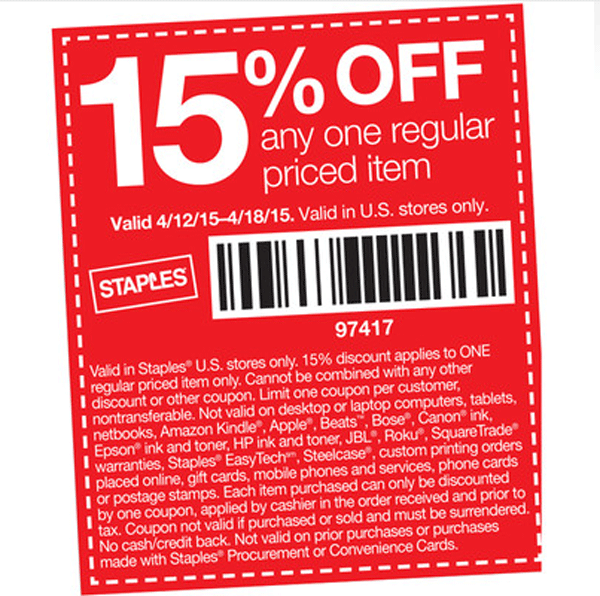 Staples Coupon October 2018 15% off a single item at Staples