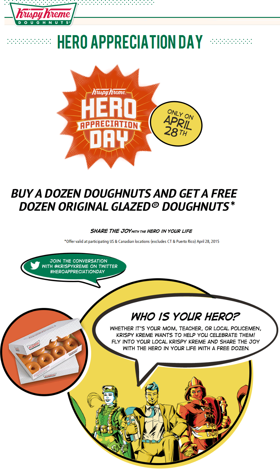 Krispy Kreme Coupon July 2017 Second dozen doughnuts free the 28th at Krispy Kreme