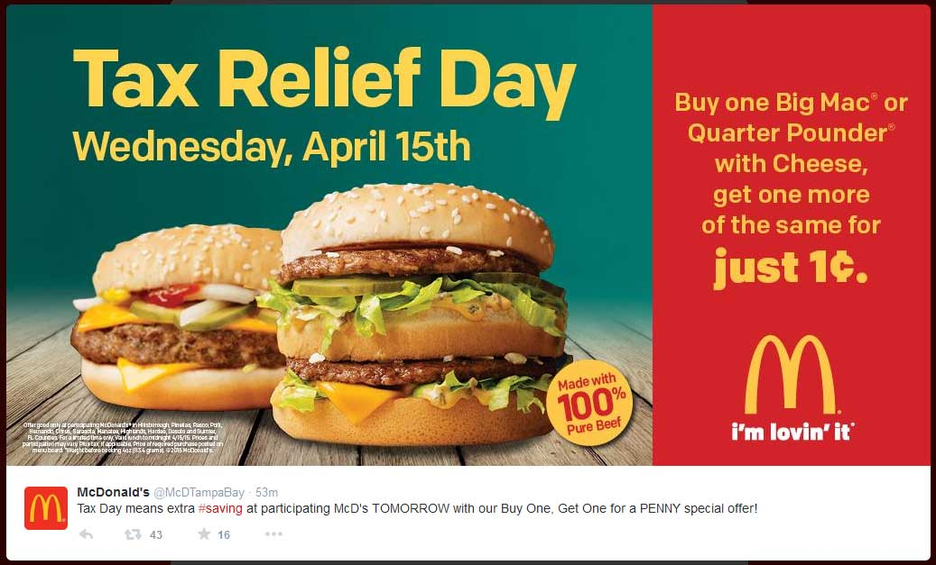 McDonalds Coupon April 2017 Second Big Mac for a penny Wednesday at various McDonalds