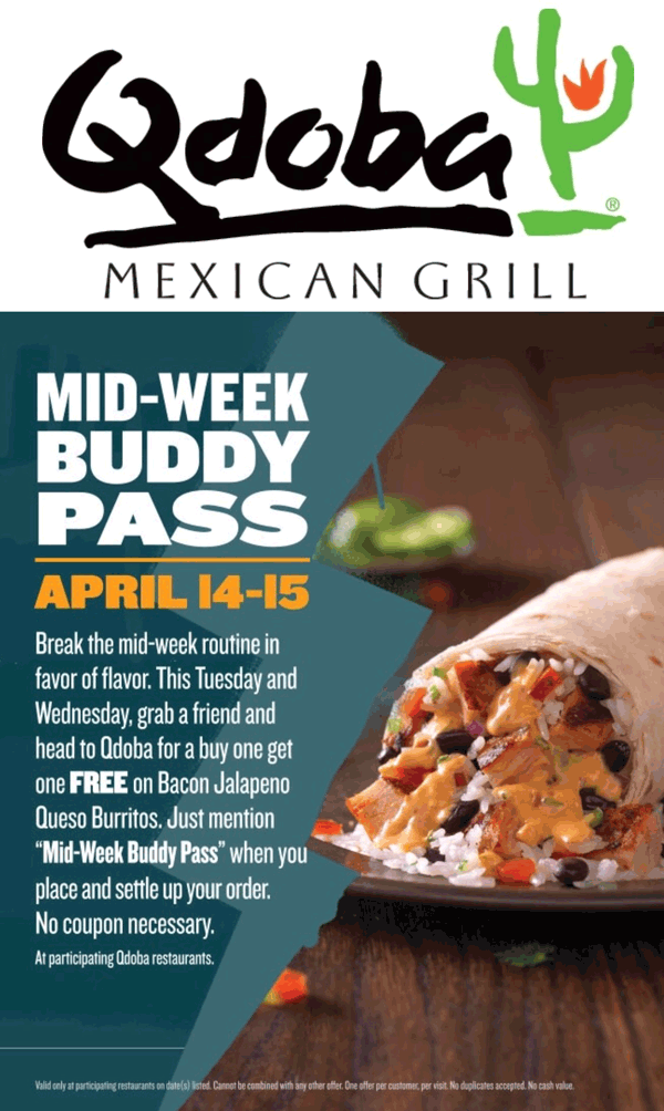 Qdoba Coupon March 2017 Mention the phrase