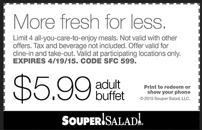 Souper Salad Coupon October 2016 $6 buffet at Souper Salad restaurants