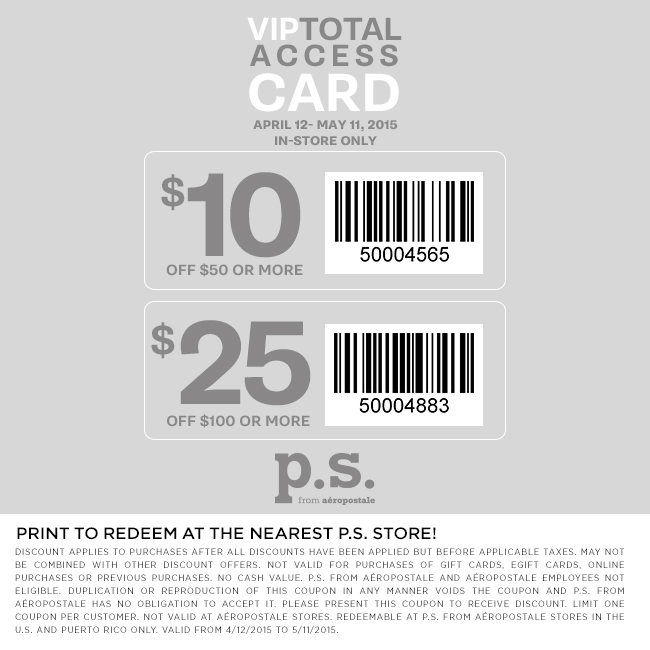 Aeropostale Coupon May 2017 $10 off $50 & more at P.S. from Aeropostale