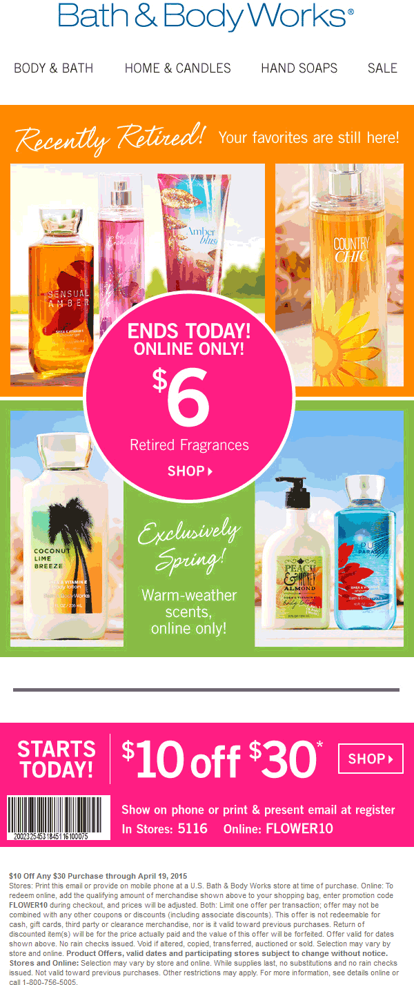 Bath & Body Works Coupon June 2017 $10 off $30 at Bath & Body Works, or online via promo code FLOWER10