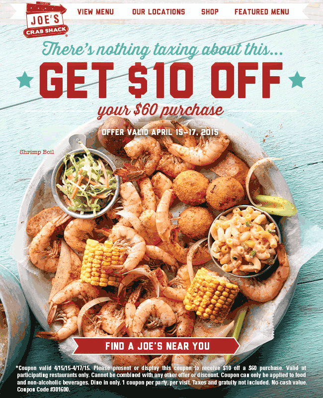 Joes Crab Shack Coupon April 2017 $10 off $60 at Joes Crab Shack restaurants