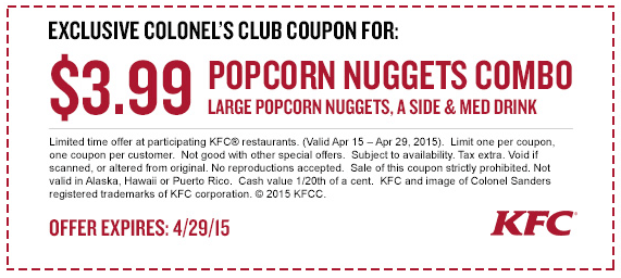 KFC Coupon May 2018 Large popcorn chicken nuggets combo meal just $4 at KFC