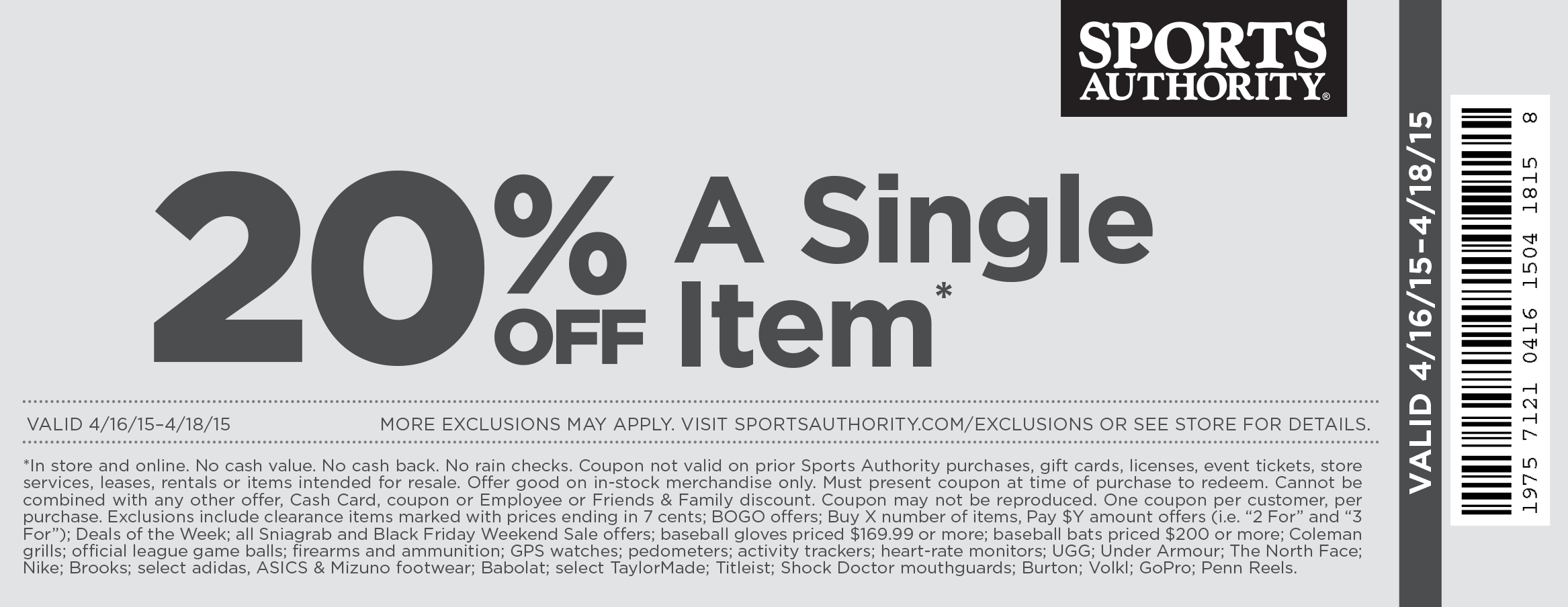 Sports Authority Coupon July 2018 20% off a single item at Sports Authority, also online