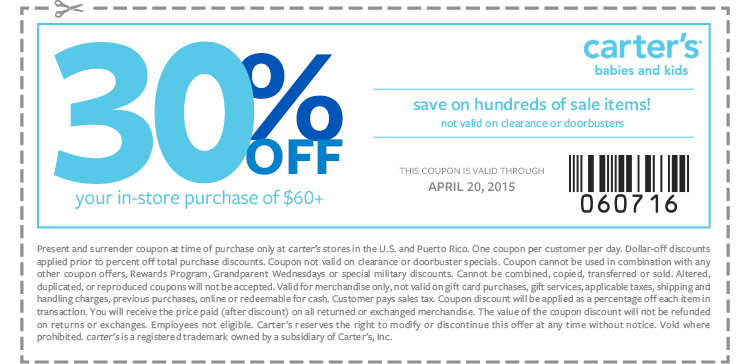 Carters Coupon January 2018 30% off $60 at Carters