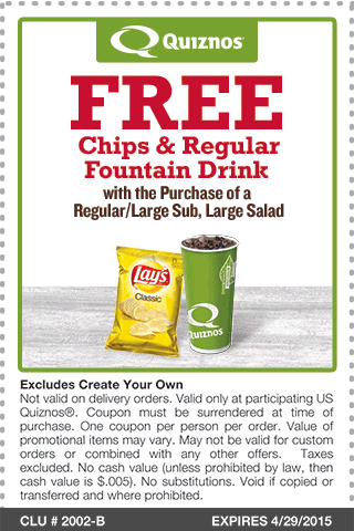 Quiznos Coupon June 2017 Chips & drink free with your sub or salad at Quiznos