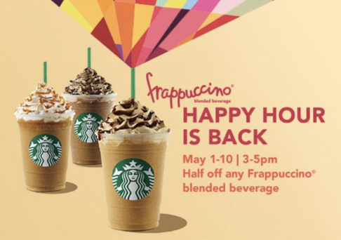 Starbucks Coupon May 2017 50% off frappuccinos 3-5pm the 1-10th at Starbucks
