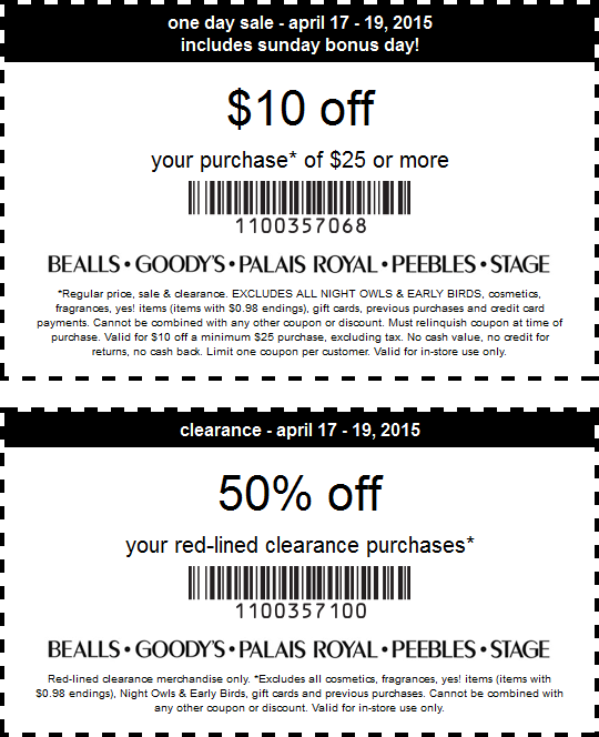 Stage Coupon January 2018 $10 off $25 & more at Bealls, Goodys, Palais Royal, Peebles & Stage stores