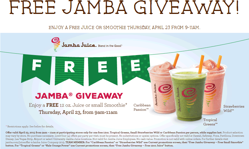 Jamba Juice Coupon March 2017 Free smoothie or juice Thursday morning at Jamba Juice