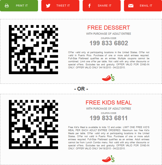 Chilis Coupon April 2017 Free dessert or kids meal with your entree at Chilis