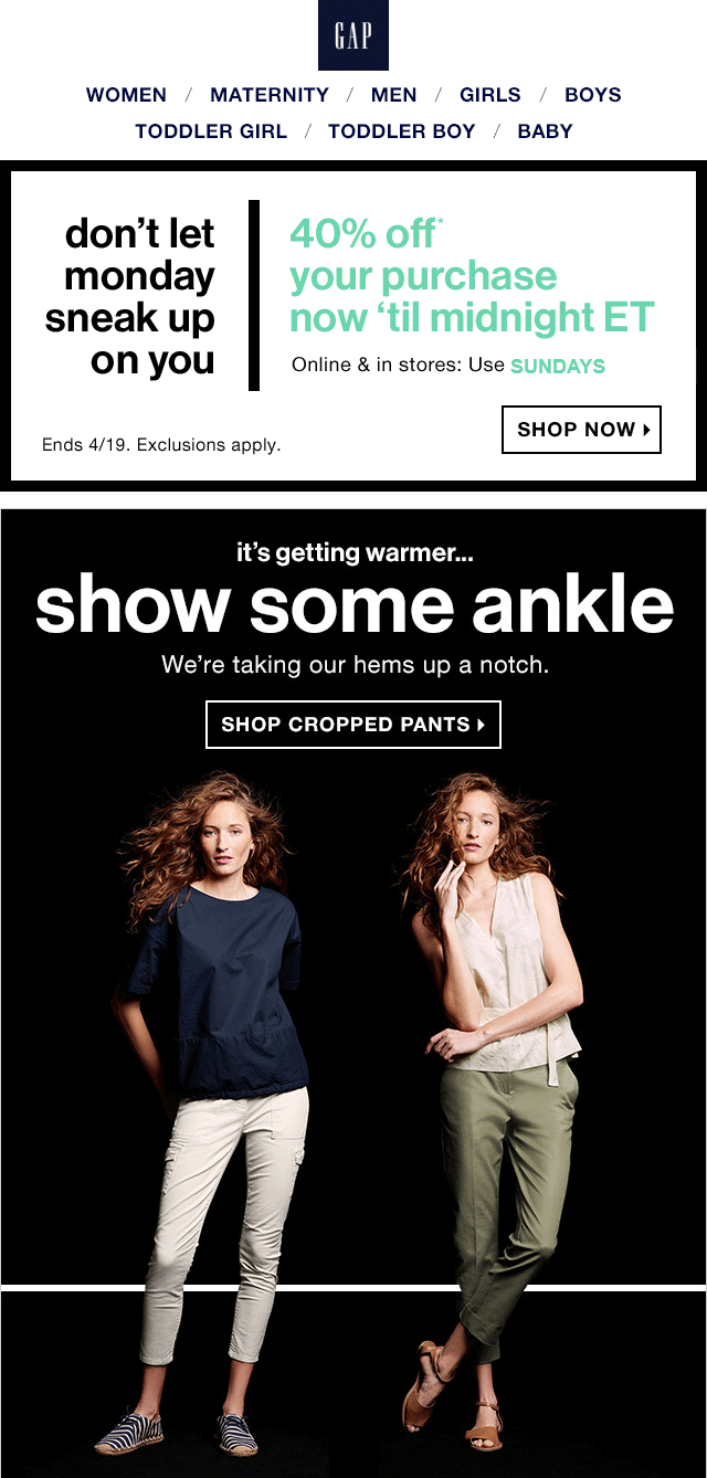 Gap Coupon May 2017 40% off today at Gap, or online via promo code SUNDAYS