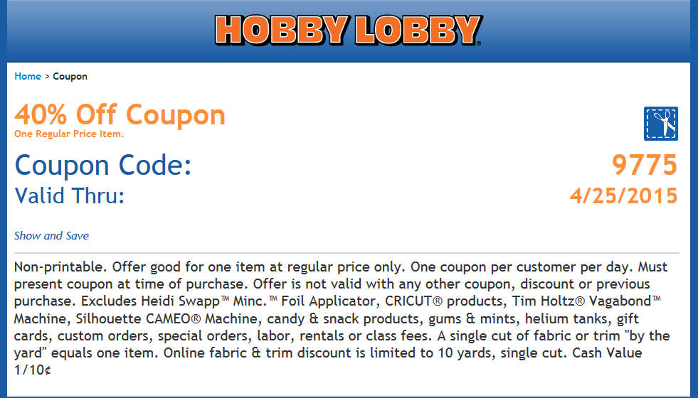 Hobby Lobby Coupon April 2017 40% off a single item at Hobby Lobby, or online via promo code 9775