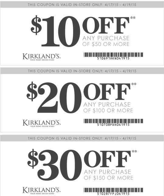 Kirklands Coupon January 2018 $10 off $50 & more today at Kirklands