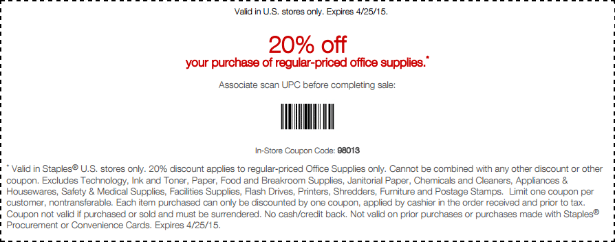 Staples Coupon January 2019 20% off office supplies at Staples, or online via promo code 58980