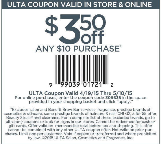 Ulta Coupon March 2018 $3 off $10 at Ulta beauty, or online via promo code 309638