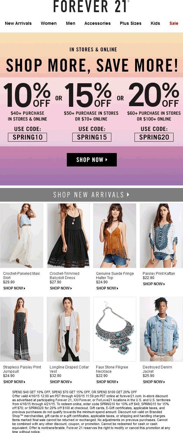 Forever 21 Coupon June 2017 10-20% off $40+ today at Forever 21, or online via promo code SPRING10