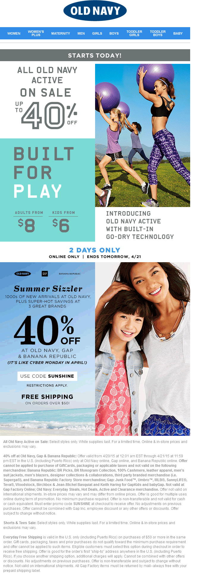 Old Navy Coupon May 2018 40% off online at Old Navy, Gap & Banana Republic via promo code SUNSHINE