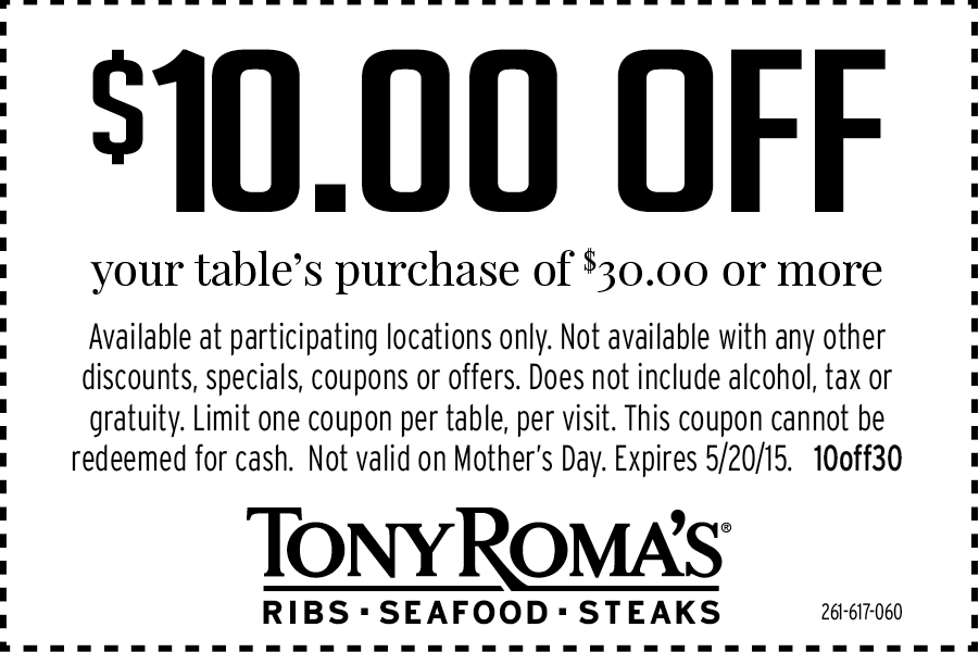 Tony Romas Coupon August 2017 $10 off $30 at Tony Romas restaurants