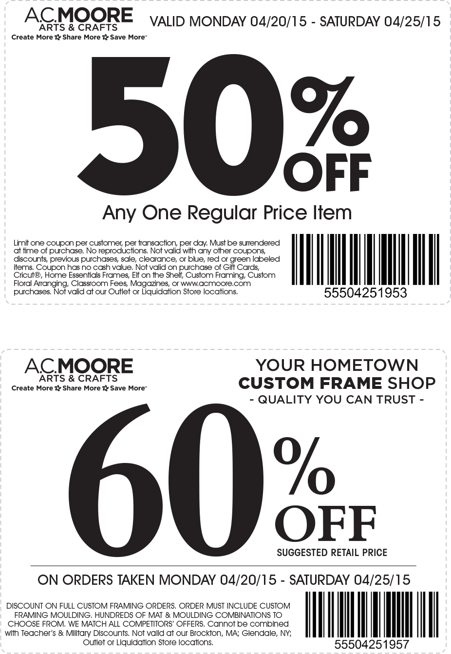 A.C. Moore Coupon February 2019 50% off a single item at A.C. Moore