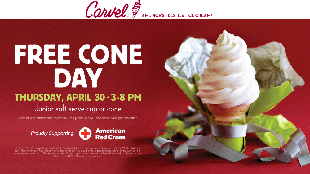 Carvel Coupon February 2017 Free ice cream cone the 30th at Carvel