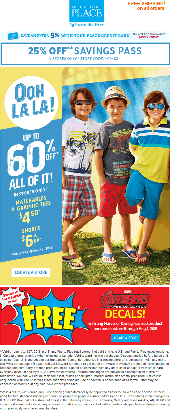 Childrens Place Coupon March 2018 25% off at The Childrens Place