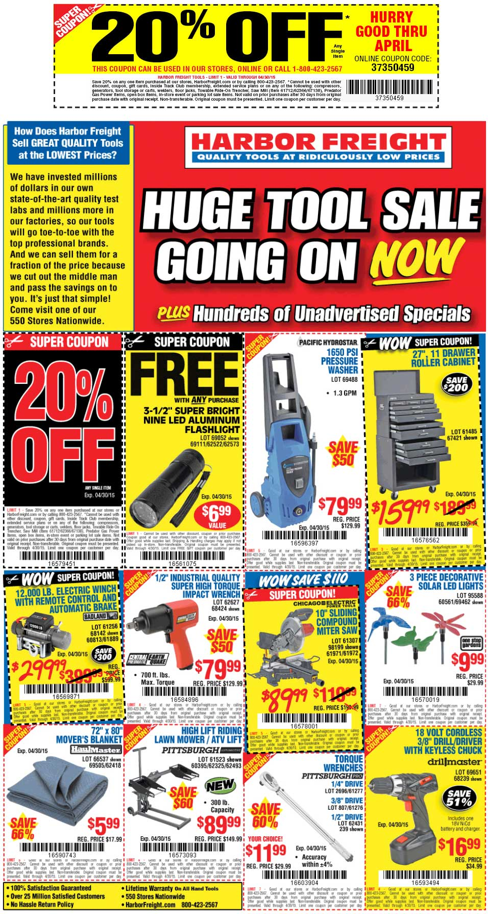 Harbor Freight Coupon March 2019 20% off a single item at Harbor Freight Tools, or online via promo code 37350459