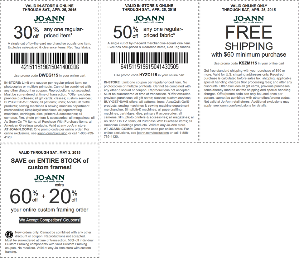 Jo-Ann Fabric Coupon April 2017 30-50% off a single item at Jo-Ann Fabric, or online via promo code DWEG115
