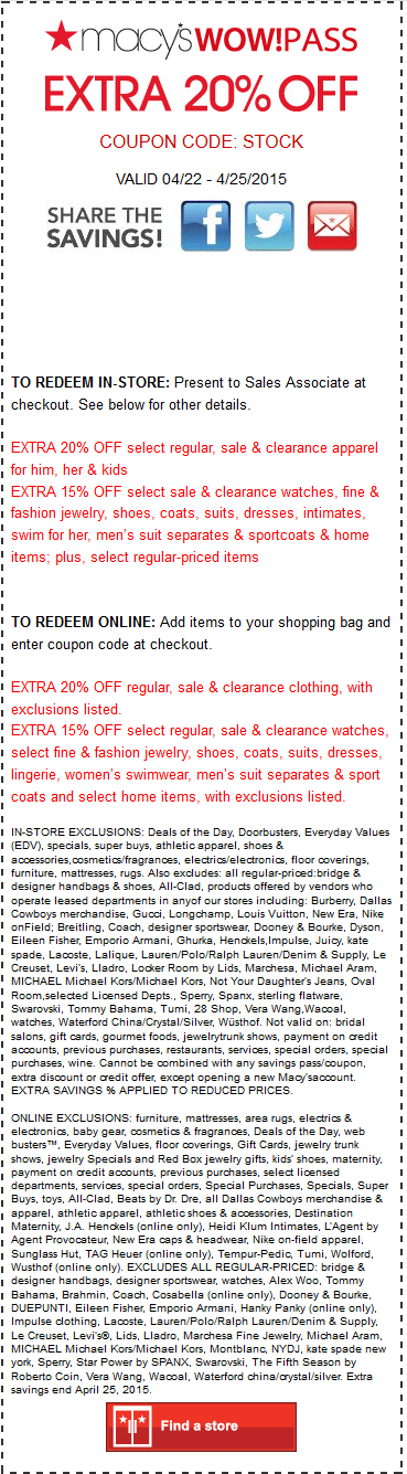 Macys Coupon January 2018 Extra 20% off at Macys, or online via promo code STOCK