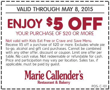 Marie Callenders Coupon March 2017 $5 off $20 at Marie Callenders restaurant & bakery