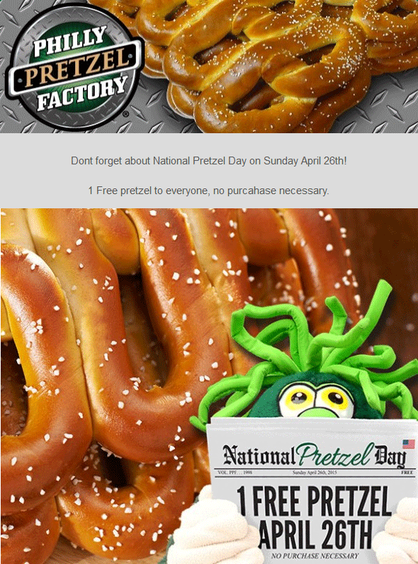 Philly Pretzel Factory Coupon May 2017 Free pretzel Sunday at Philly Pretzel Factory - no purchase necessary