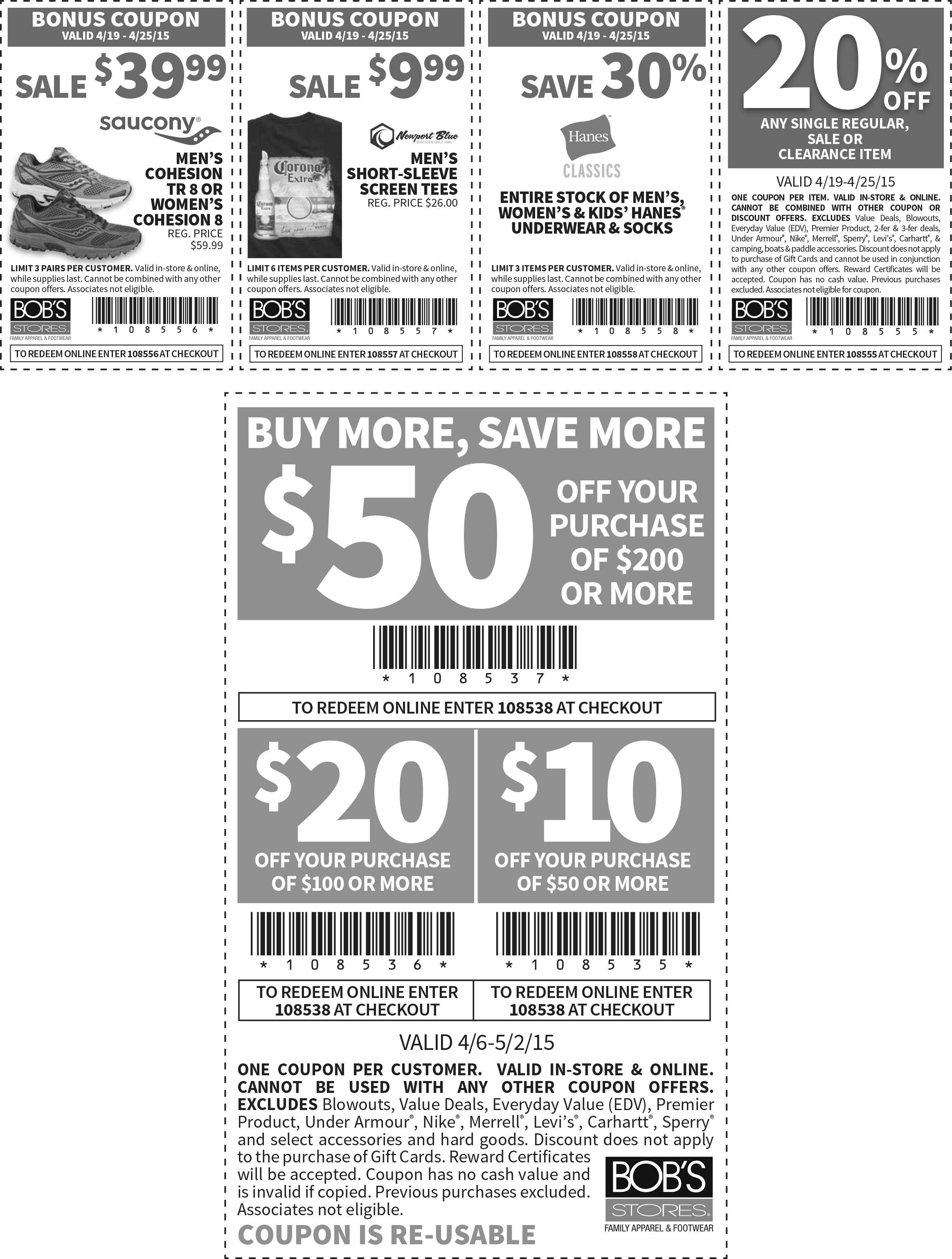 Bobs Stores Coupon May 2017 $10 off $50 & more at Bobs Stores, or online via promo code 108538