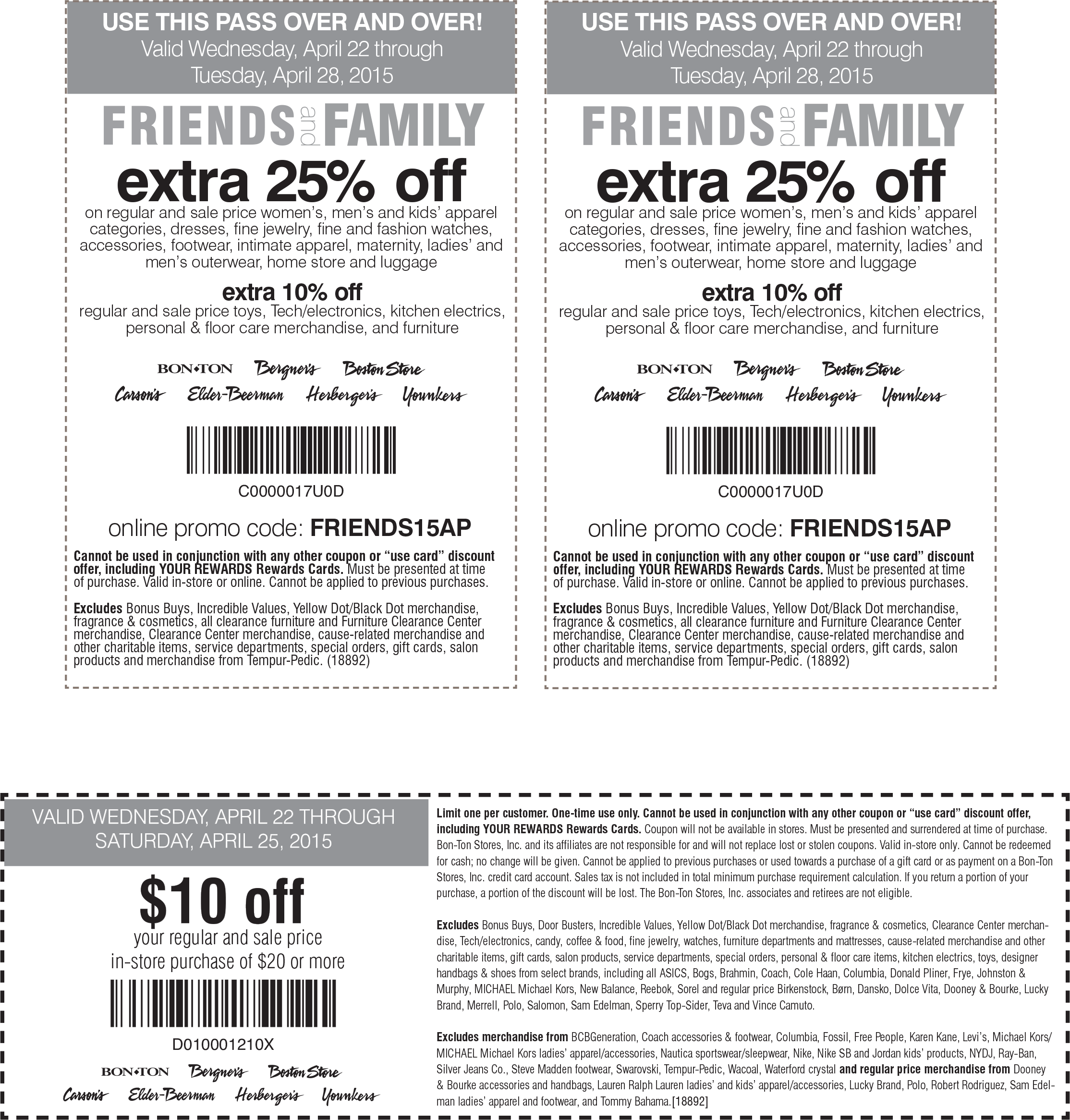 Carsons Coupon January 2017 $10 off $20 & more at Carsons, Bon Ton & sister stores, or 25% online via promo code FRIENDS15AP