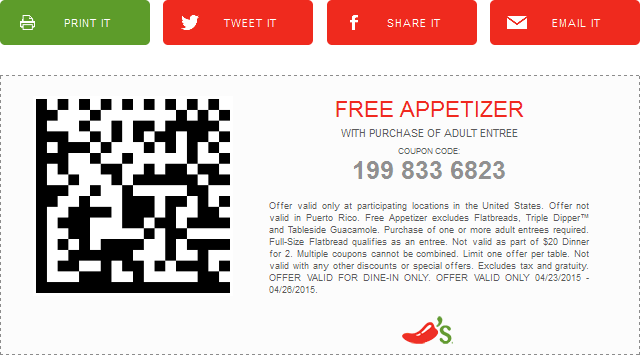Chilis Coupon July 2017 Free appetizer with your entree at Chilis