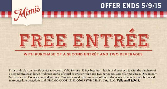 Mimis Cafe Coupon April 2017 Second entree free at Mimis Cafe