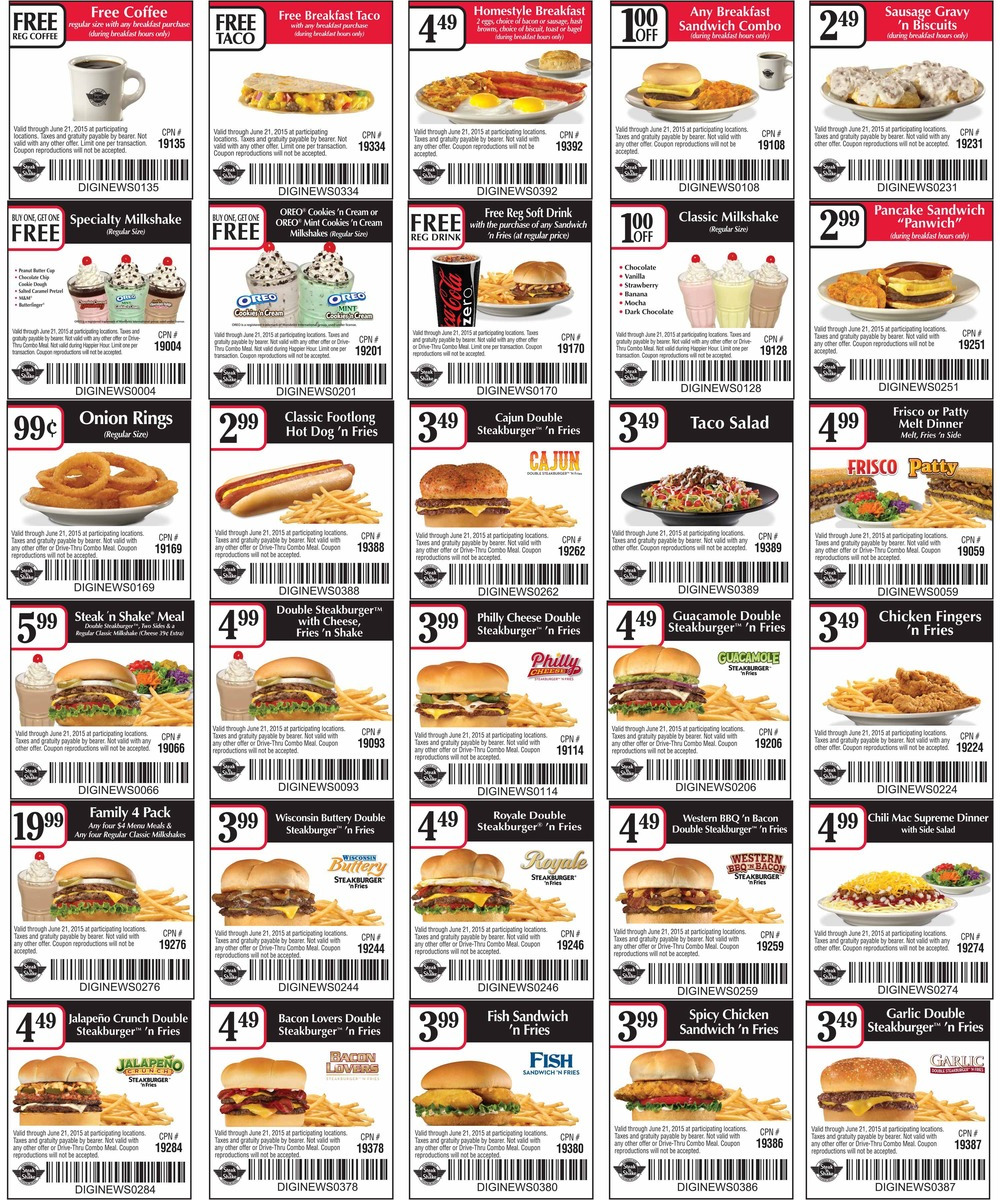 Steak n Shake Coupon September 2017 Free coffee & taco with your breakfast & more at Steak n Shake