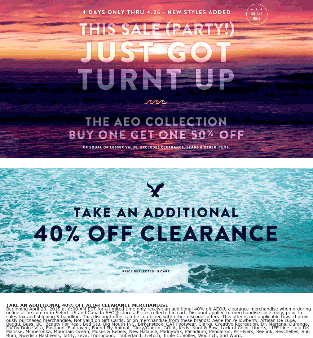 American Eagle Outfitters Coupon May 2018 Extra 40% off clearance & more at American Eagle Outfitters, ditto online